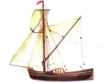 небольшое парусно гребное рыболовное судно на белом море
